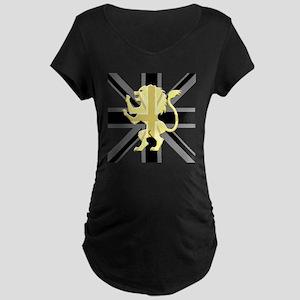 Black Union Jack Lion Rampa Maternity Dark T-Shirt