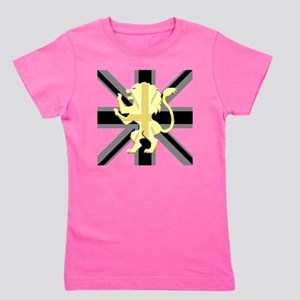 Black Union Jack Lion Rampant Girl's Tee