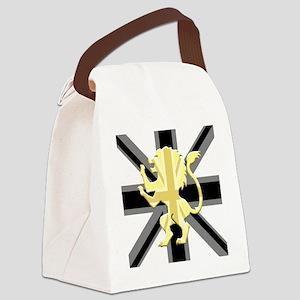 Black Union Jack Lion Rampant Canvas Lunch Bag