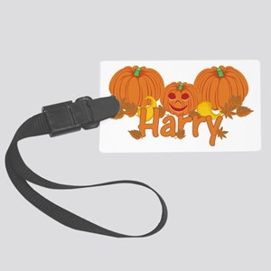 Halloween Pumpkin Harry Large Luggage Tag