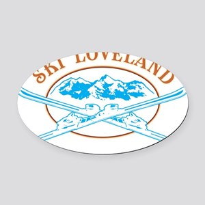 Loveland Crossed-Skis Badge Oval Car Magnet