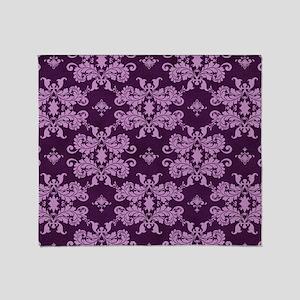 Purple Damask Throw Blanket