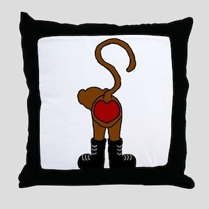 heart monkey Throw Pillow