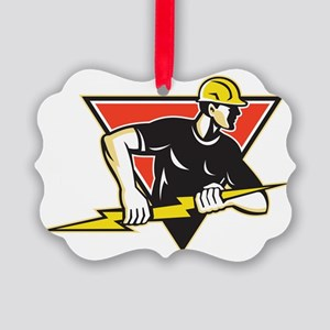 Electrician Lightning Bolt Retro Picture Ornament