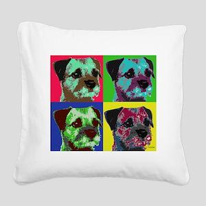 Pop Art Border Terrier Square Canvas Pillow
