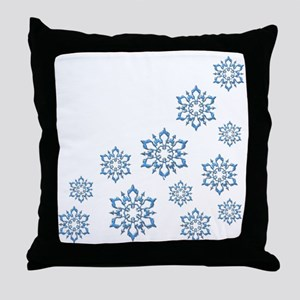 ICY BLUE SNOWFLAKES Throw Pillow