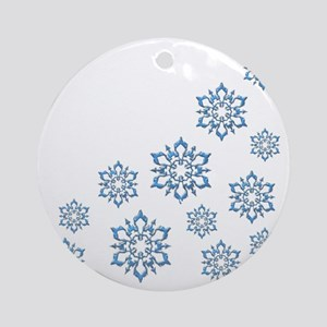 ICY BLUE SNOWFLAKES Round Ornament