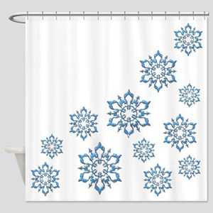 ICY BLUE SNOWFLAKES Shower Curtain