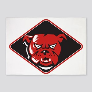 Angry Bulldog Head Front Retro 5'x7'Area Rug