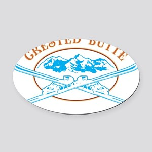 Crested Butte Crossed-Skis Badge Oval Car Magnet