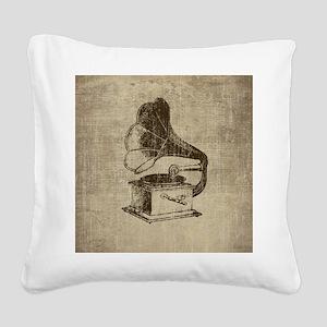 Vintage Phonograph Square Canvas Pillow