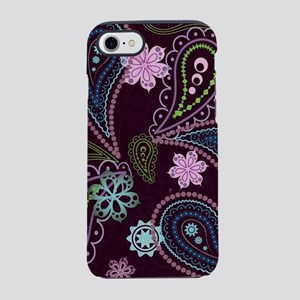 PAISLEY AND FLOWERS ON EGGPLANT iPhone 7 Tough Cas