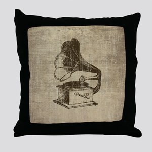 Vintage Phonograph Throw Pillow