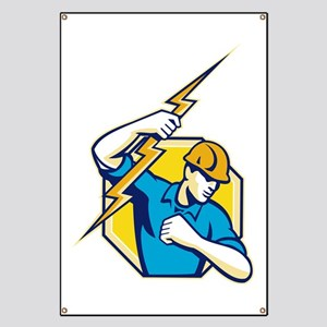 Electrician Construction Worker Retro Banner