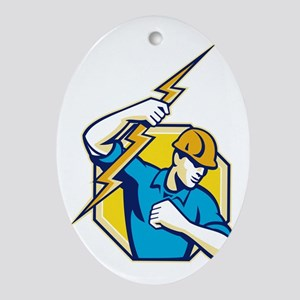 Electrician Construction Worker Retr Oval Ornament