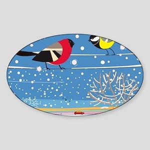 Winter Birds on a Wire Sticker (Oval)