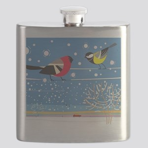 Winter Birds on a Wire Flask