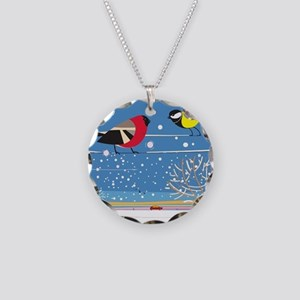 Winter Birds on a Wire Necklace Circle Charm