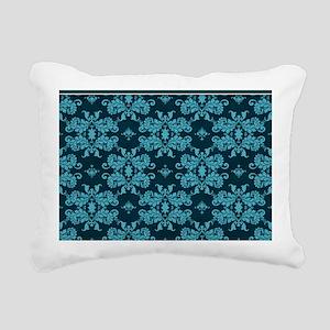 Teal Damask Rectangular Canvas Pillow