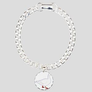White Goose Charm Bracelet, One Charm