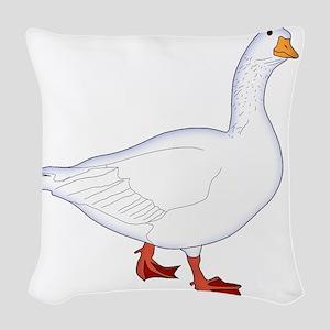 White Goose Woven Throw Pillow