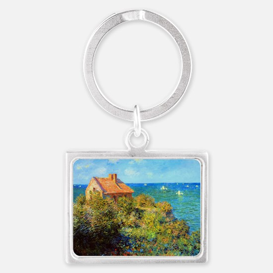 Claude Monet Fisherman Cottage Landscape Keychain