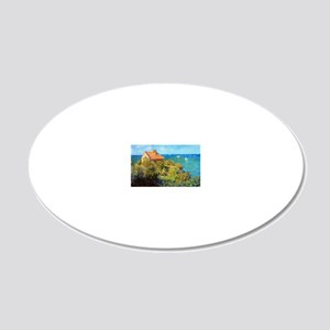 Claude Monet Fisherman Cotta 20x12 Oval Wall Decal