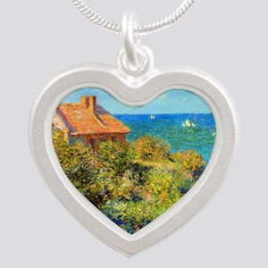 Claude Monet Fisherman Cotta Silver Heart Necklace