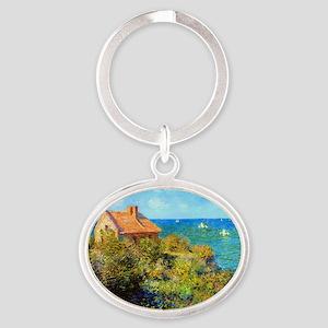 Claude Monet Fisherman Cottage Oval Keychain