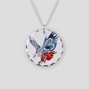 Metallic Grunge Eagle Tattoo Necklace Circle Charm