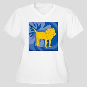 Lion Suede Pillow Women's Plus Size V-Neck T-Shirt