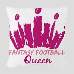 Fantasy Football Queen Woven Throw Pillow