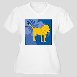 Lion Wine Label Women's Plus Size V-Neck T-Shirt