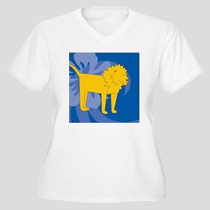 Lion Round Coaste Women's Plus Size V-Neck T-Shirt