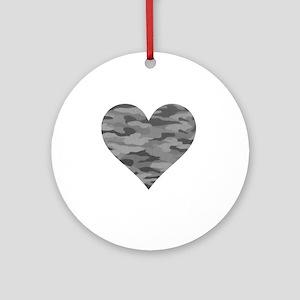 Grey Camo Heart Round Ornament