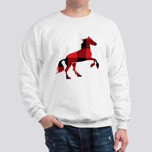 Red Plaid Horse Sweatshirt