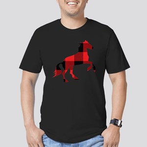 Red Plaid Horse Men's Fitted T-Shirt (dark)