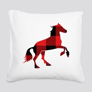 Red Plaid Horse Square Canvas Pillow