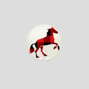 Red Plaid Horse Mini Button