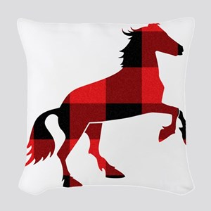Red Plaid Horse Woven Throw Pillow