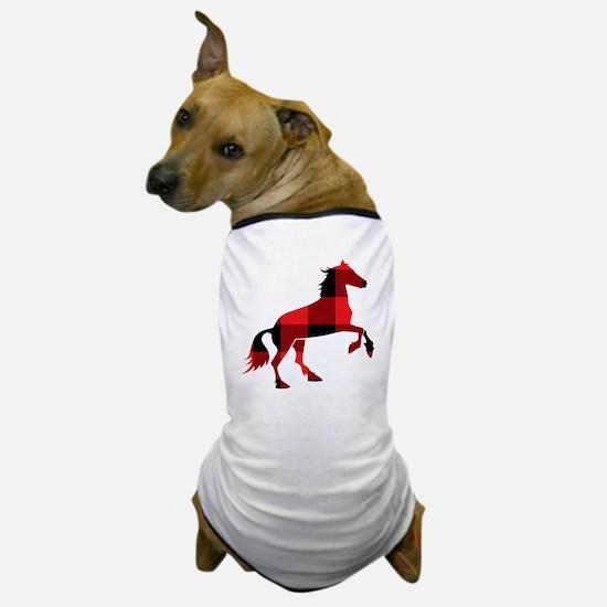 Red Plaid Horse Dog T-Shirt