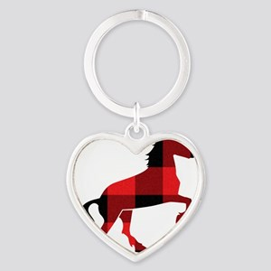Red Plaid Horse Heart Keychain