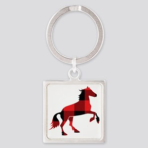 Red Plaid Horse Square Keychain