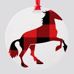 Red Plaid Horse Round Ornament