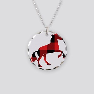 Red Plaid Horse Necklace Circle Charm