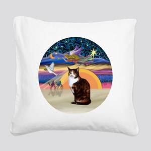 C-Angel-Calico Cat Square Canvas Pillow