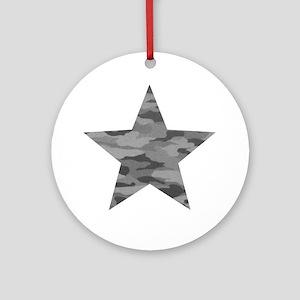 Grey Camo Star Round Ornament