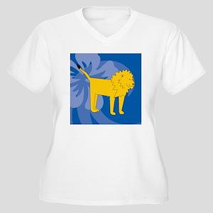 Lion Puzzle Coast Women's Plus Size V-Neck T-Shirt