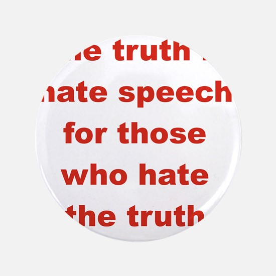 """THE TRUTH IS HATE SPEECH FOR THOSE WHO 3.5"""" Button"""