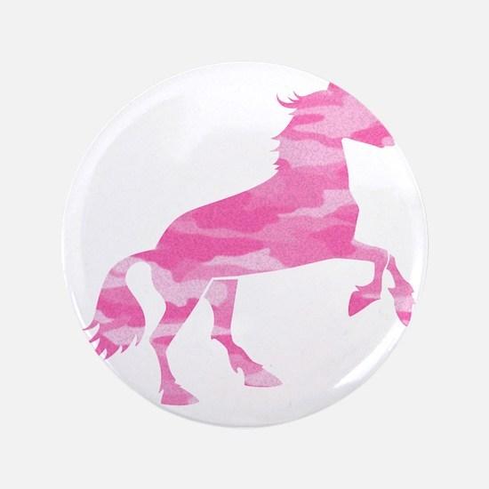 """Pink Camo Horse 3.5"""" Button"""
